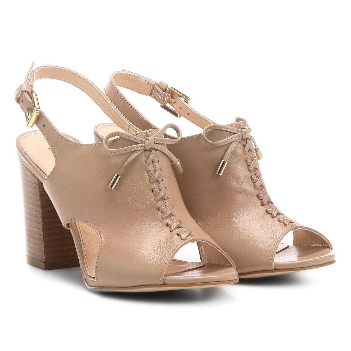 813b861da Sandália Couro Shoestock Salto Grosso Trançada Feminina | Shoestock