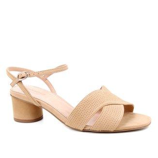Sandália Couro Shoestock Salto Médio Feminina
