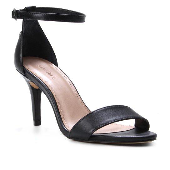 Sandália Couro Shoestock Salto Médio Fernanda Feminina - Preto