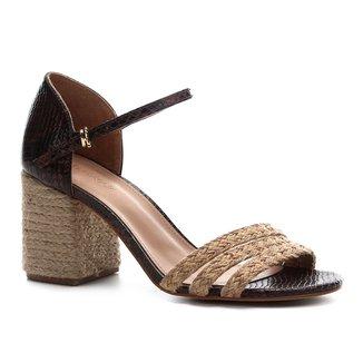 Sandália Couro Shoestock Salto Médio Snake Corda Feminina