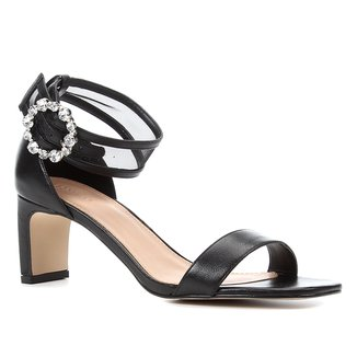 Sandália Couro Shoestock Salto Médio Tela Fivela Strass Feminina