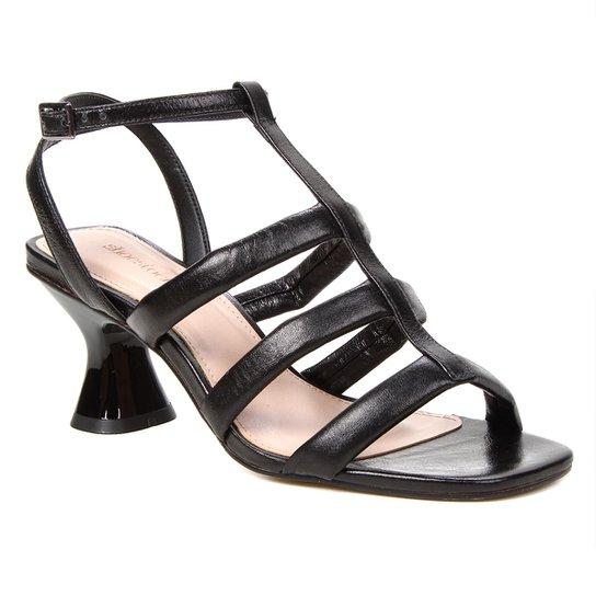 Sandália Couro Shoestock Salto Médio Tiras Feminina - Preto
