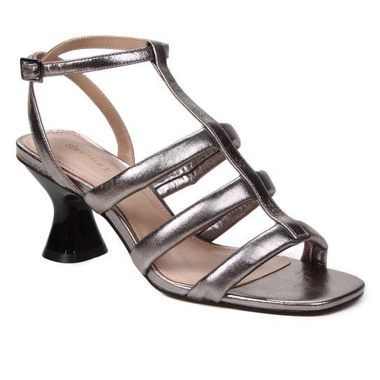 Sandália Couro Shoestock Salto Médio Tiras Feminina - Prata+Preto