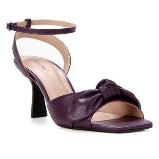 Sandália Couro Shoestock Salto Taça Médio Laço Feminino