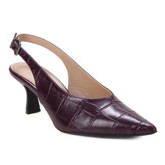 Sandália Couro Shoestock Slingback Croco Feminina