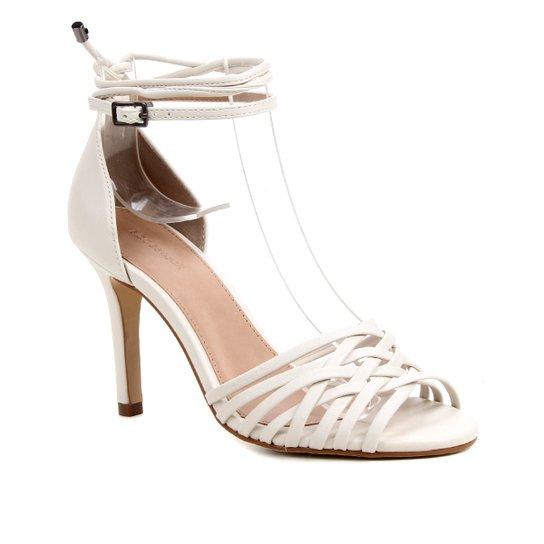 Sandália Couro Shoestock Tiras Cruzadas Salto Alto Feminina - Off White