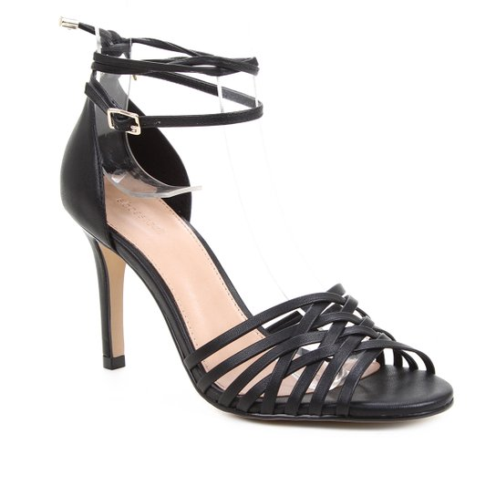 Sandália Couro Shoestock Tiras Cruzadas Salto Alto Feminina - Preto