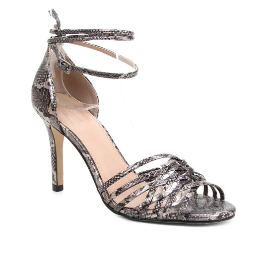 Sandália Couro Shoestock Tiras Cruzadas Salto Alto Feminina - Prata+Preto