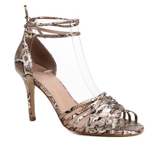 Sandália Couro Shoestock Tiras Cruzadas Salto Alto Feminina - Dourado