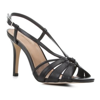 Sandália Couro Shoestock Tiras Salto Alto Feminina