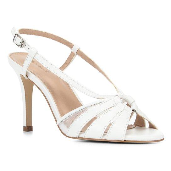 Sandália Couro Shoestock Tiras Salto Alto Feminina - Branco