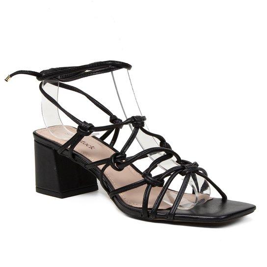 Sandália Couro Shoestock Tiras Salto Médio Feminina - Preto