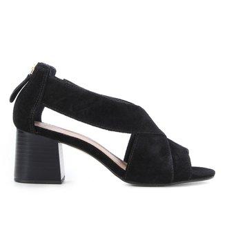 Sandália Couro Shoestock Zíper Salto Alto Feminina