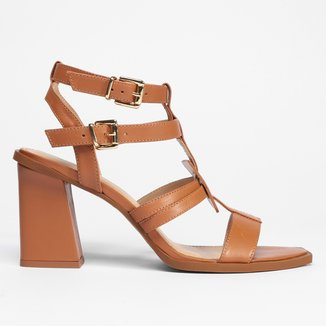 Sandália Gladiadora Shoestock Couro Atanado Salto Alto Bloco