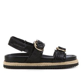 Sandália Papete Shoestock Couro Tira Dupla Croco Feminina
