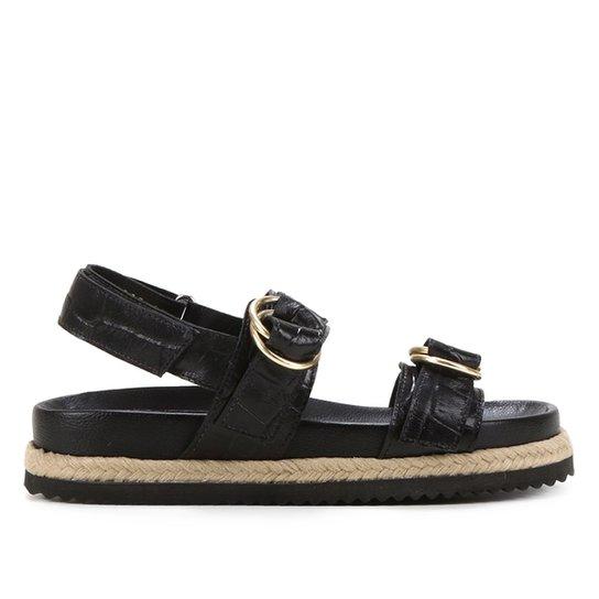 Sandália Papete Shoestock Couro Tira Dupla Croco Feminina - Preto