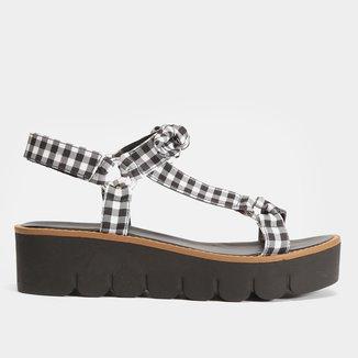 Sandália Papete Shoestock Tecido Vichy Feminina