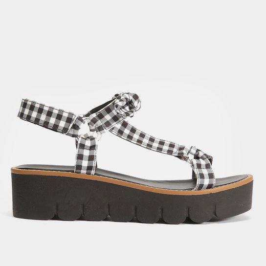 Sandália Papete Shoestock Tecido Vichy Feminina - Preto+Branco