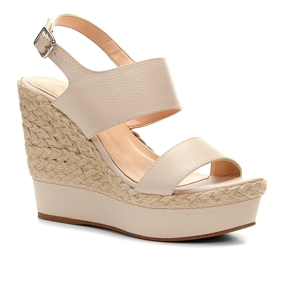 131c2b682b Sandália Plataforma Couro Shoestock Corda Feminina
