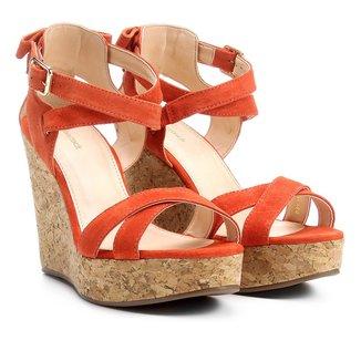 Sandália Plataforma Couro Shoestock Laço Feminina