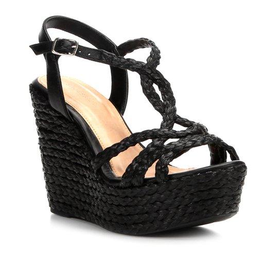 Sandália Plataforma Shoestock Corda Tranças Feminina - Preto