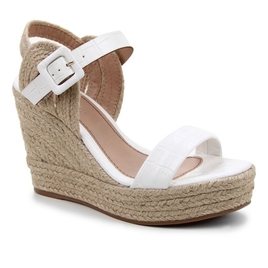 Sandália Plataforma Shoestock Crocodiles Corda Feminina - Off White