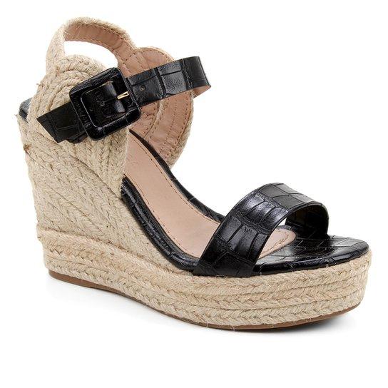 Sandália Plataforma Shoestock Crocodiles Corda Feminina - Preto