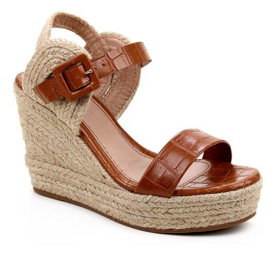 Sandália Plataforma Shoestock Crocodiles Corda Feminina - Caramelo