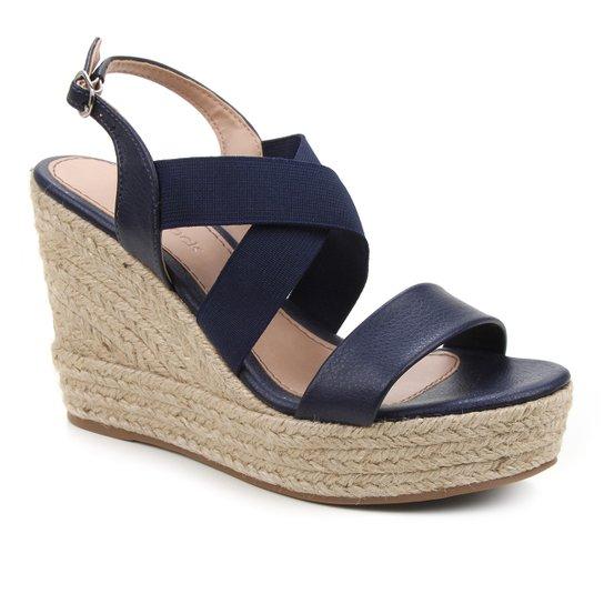 Sandália Plataforma Shoestock Elástico Corda Feminina - Marinho
