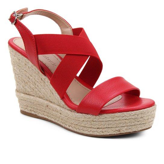 Sandália Plataforma Shoestock Elástico Corda Feminina - Vermelho