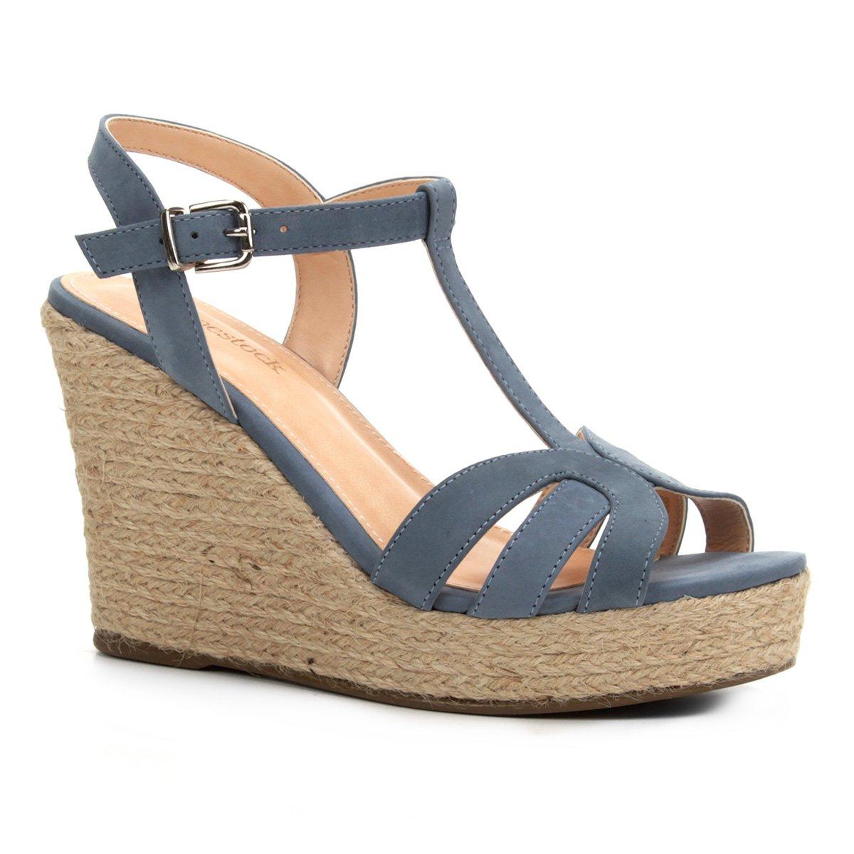 526c83f4e Sandália Plataforma Shoestock Tiras Corda Feminina - Azul | Shoestock
