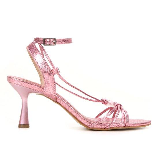 Sandália Shoestock Amarração Esfera Salto Médio Feminina - Rosa
