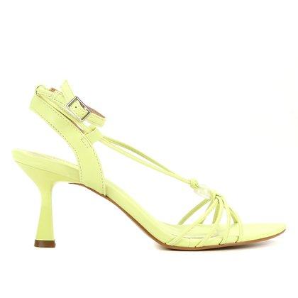 Sandália Shoestock Amarração Esfera Salto Médio Feminina
