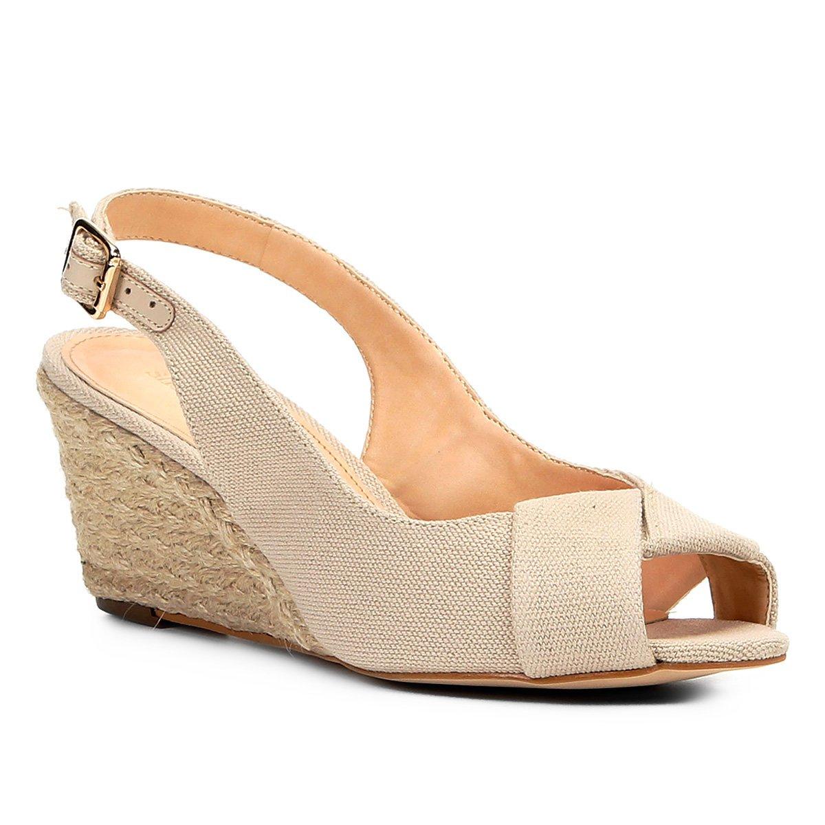 642fc3d83 Sandália Shoestock Anabela Lona Feminina - Compre Agora