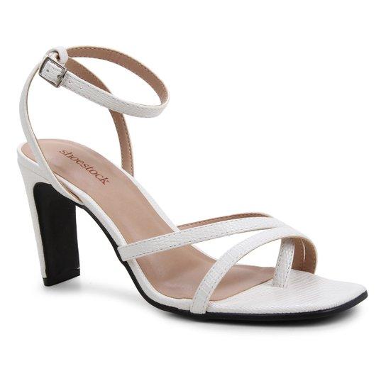 Sandália Shoestock Bico Quadrado Salto Alto Feminina - Branco