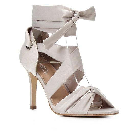 Sandália Shoestock Bride Tiras Cetim Salto Alto Feminina - Off White