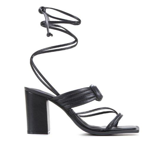 Sandália Shoestock Color Salto Bloco Alto Feminina - Preto