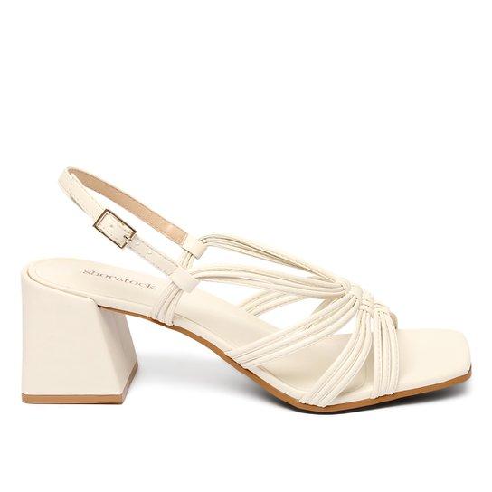 Sandália Shoestock Color Salto Bloco Médio Feminina - Off White