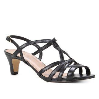 Sandália Shoestock Couro Salto Baixo Tiras