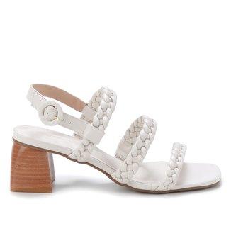 Sandália Shoestock Couro Salto Bloco Trança