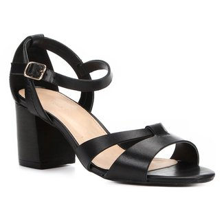 Sandália Shoestock Couro Salto Bloco