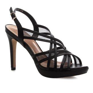 Sandália Shoestock Couro Tela Meia Pata
