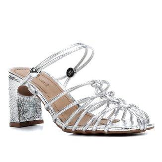 Sandália Shoestock Croco Tiras Salto Médio Feminina