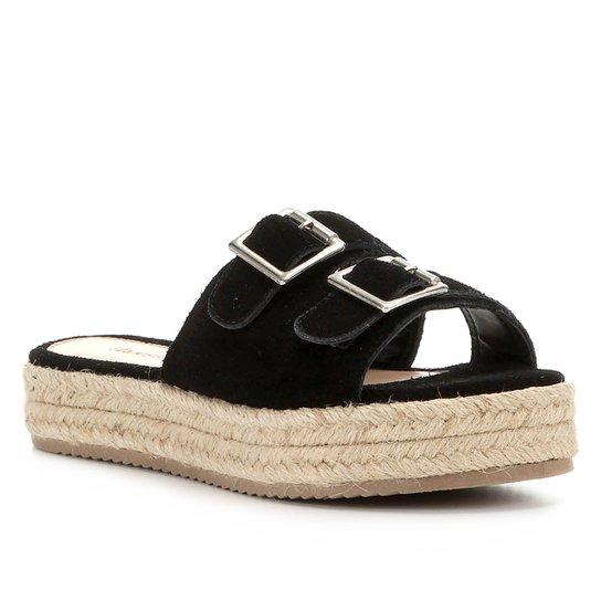 Sandália Shoestock Flatform Camurça Fivelas Feminina - Preto