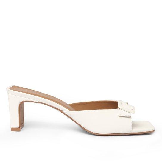 Sandália Shoestock For You Salto Bloco Fivela Feminina - Branco
