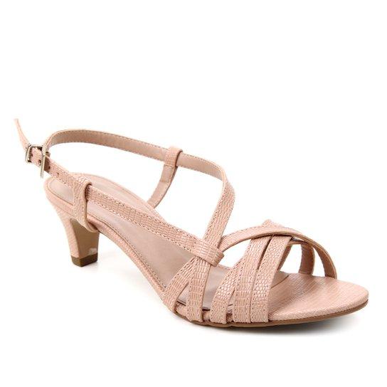 Sandália Shoestock Lezard Tiras Salto Baixo Feminina - Nude