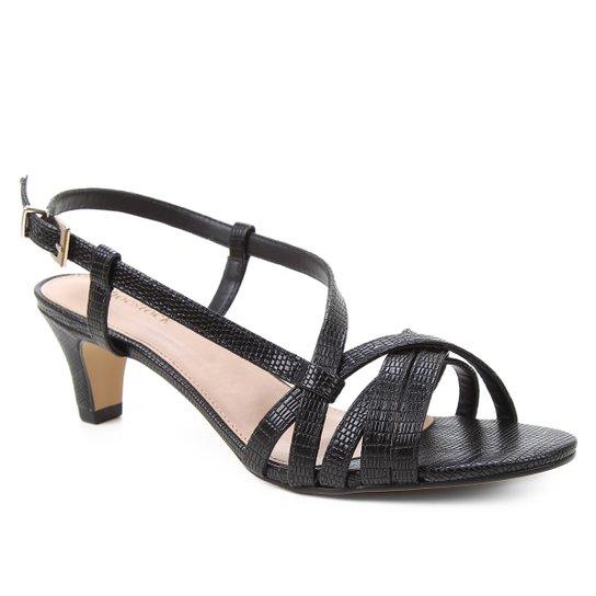 Sandália Shoestock Lezard Tiras Salto Baixo Feminina - Preto