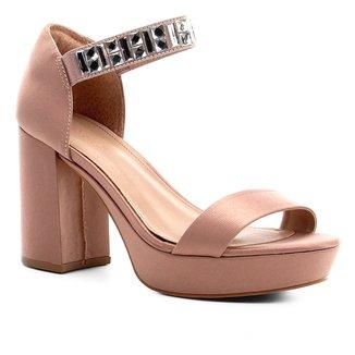 Sandália Shoestock Meia Pata Cetim Pedraria Feminina