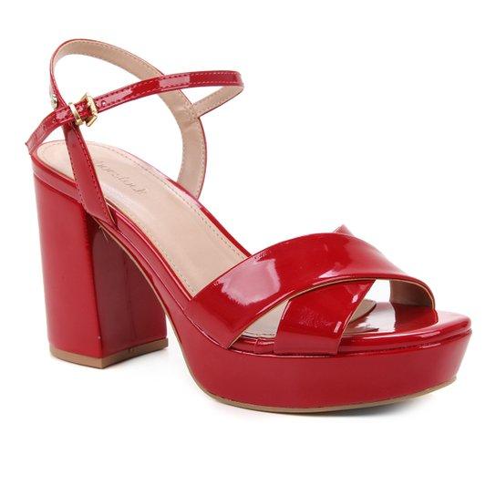 Sandália Shoestock Meia Pata Salto Alto Verniz Feminina - Vermelho