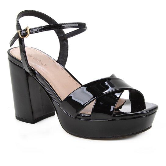 Sandália Shoestock Meia Pata Salto Alto Verniz Feminina - Preto